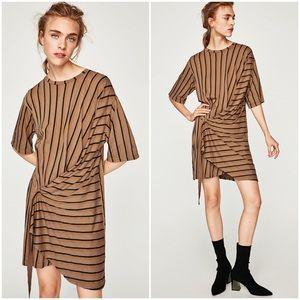 nwt // zara striped dress with buckle detail